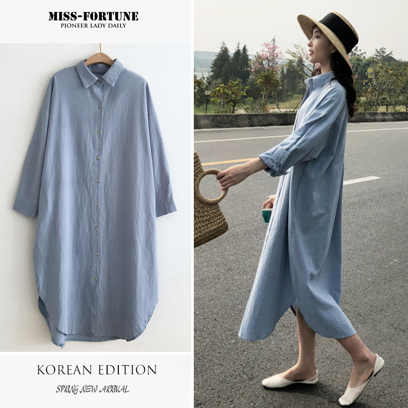 Pregnant womens spring shirt 2020 new mid long loose large size pure cotton solid color Korean fashion mom dress