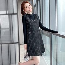 【冬装直播上新】时尚拼接裙子胖妹妹大码女装小香风宽松连衣裙