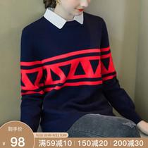 奢姿2019秋季新款大码女装200斤胖妹妹时尚宽松减龄遮肚POLO毛衣
