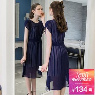 奢姿大码女装减龄2018夏装新款胖mm200斤中长款显瘦雪纺连衣裙潮