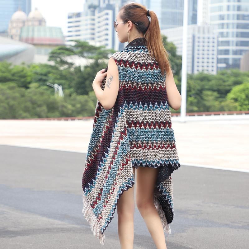春季新款民族风披肩外套 中长款针织开衫外搭 流苏无袖马甲毛衣女图片