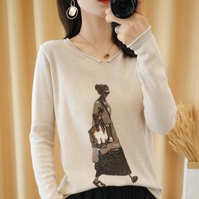 春秋女装纯棉线长袖t恤衫针织衫