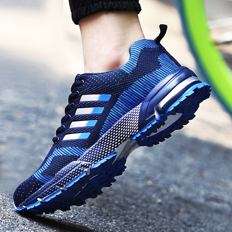 2021 spring new mens sports shoes flying line casual shoes trend outdoor breathable running shoes Korean mens shoes