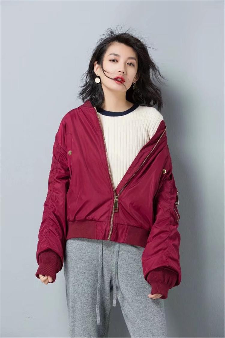 细可高端定制2017年秋冬新款韩版时尚棒球服夹克两色外套女装