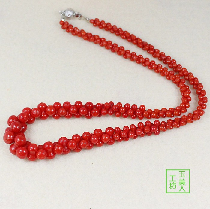 8-word bead Dyed Red Coral Necklace New Years birthday jewelry for mother and girlfriend