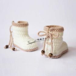 婴儿毛线鞋针织婴儿鞋手工毛线编织宝宝鞋高筒婴儿马丁靴系带防掉