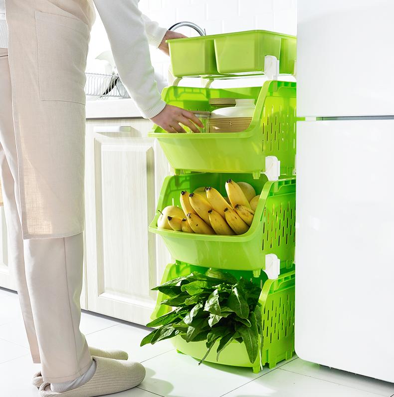 加厚塑料厨房可叠加水果蔬菜储物架(非品牌)