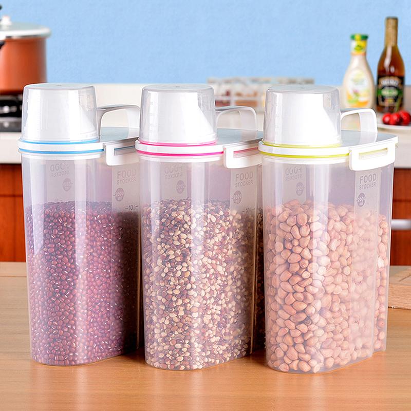 百露 三件套裝 大號提手廚房雜糧儲物罐 塑料五穀收納罐儲物罐