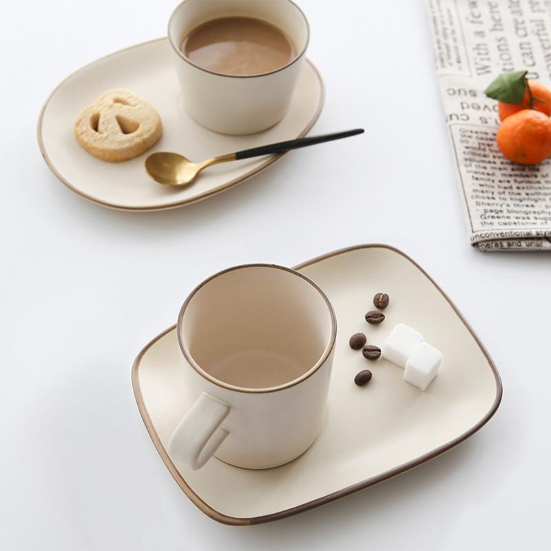 日式陶瓷杯子复古马克磨砂简约粗陶咖啡杯套装欧式情侣下午茶杯碟