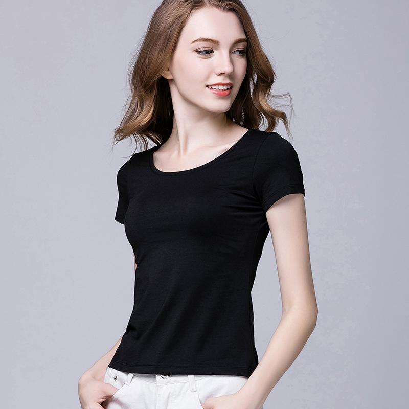 纯色莫代尔棉T恤女夏季圆领短袖打底衫百搭修身显瘦黑色短款上衣