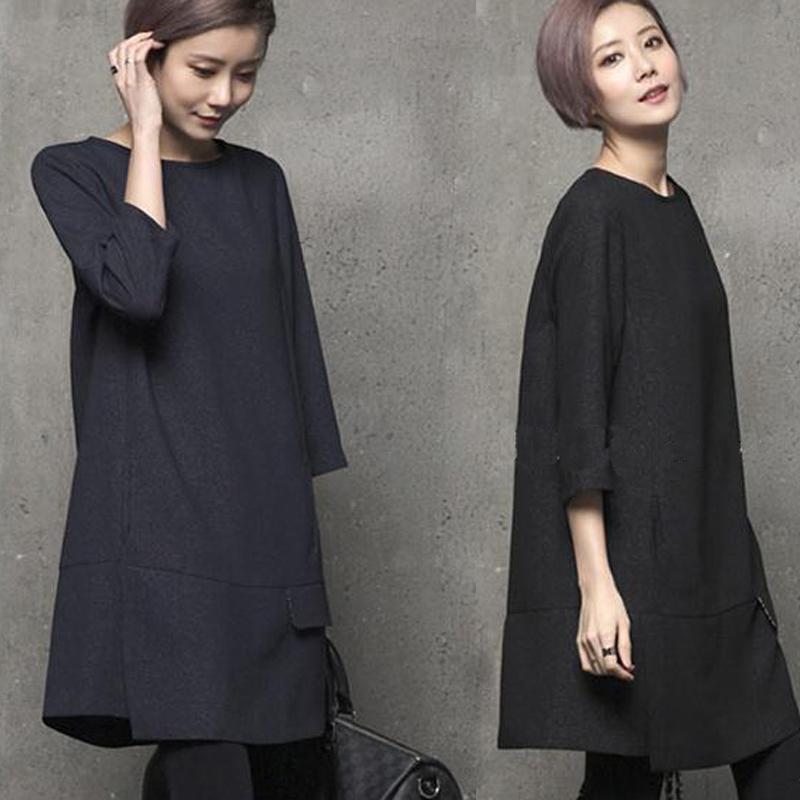 2020秋装新款韩版宽松显瘦a字七分袖连衣裙女韩国设计感小众裙子