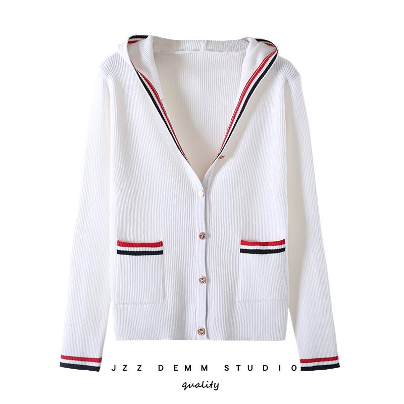 2020春秋冬韩版TB连帽开衫修身显瘦条纹针织衫白色毛衣短款外套女图片