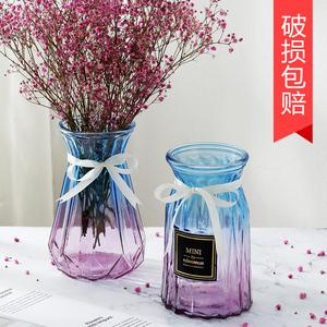 领2元券购买透明玻璃花瓶干花插花水培玻璃瓶客厅创意小清新摆件插花装饰花盆