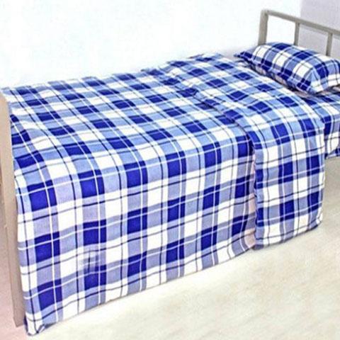 蓝白格子 床单被套单件 上下铺学生宿舍单人床 加厚款三件套包邮