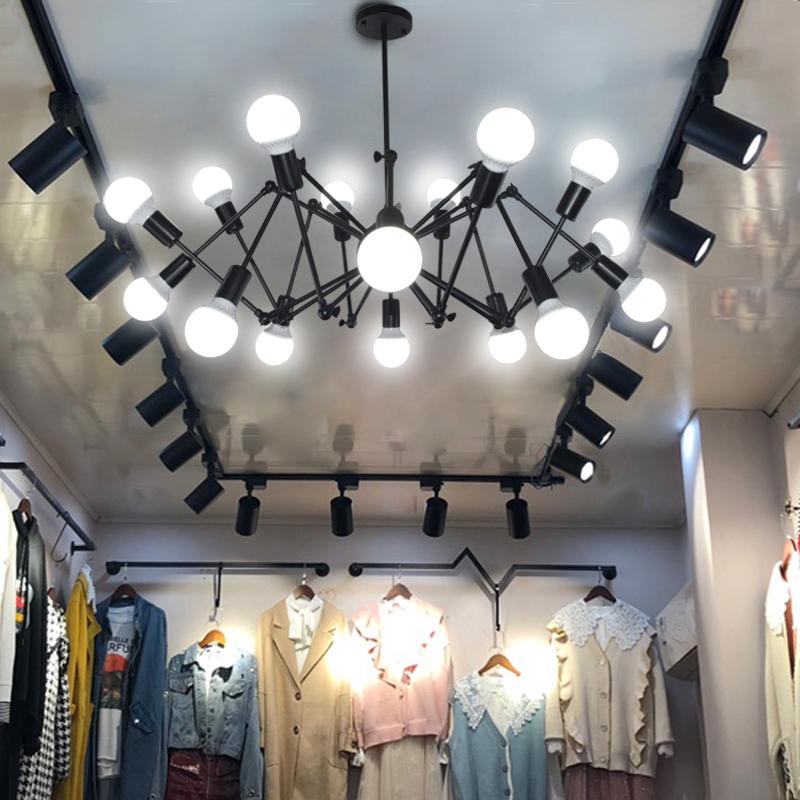 理发店商铺吊灯北欧工业风创意个性蜘蛛灯服装店loft铁艺餐厅灯具