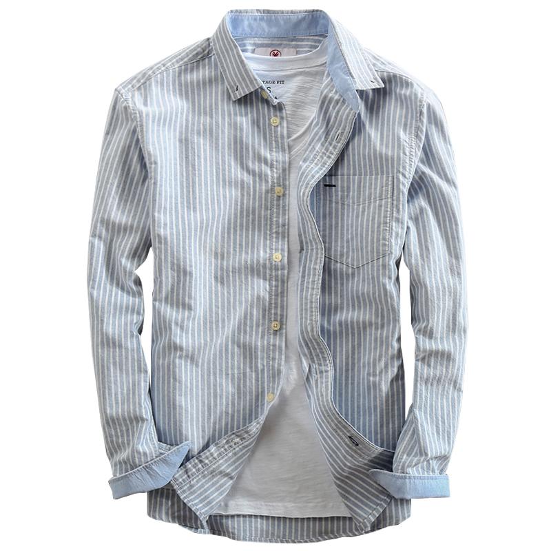 条纹牛津纺长袖男士衬衫
