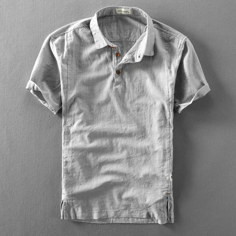 夏季男士亚麻短袖衬衫棉麻薄款复古透气套头半袖麻布短袖男衬衣潮图片