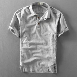 夏季男士亚麻短袖衬衫棉麻薄款复古透气套头半袖麻布半袖男衬衣潮