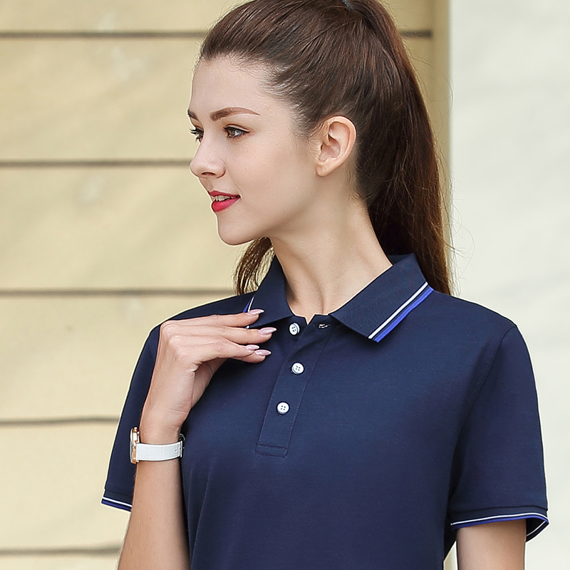 Polo shirt with Lapel female leader stripe short sleeve top large work clothes summer custom logo sports T-shirt