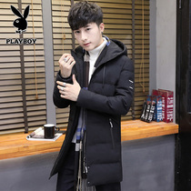Playboy mens medium and long cotton clothes winter Korean tide brand youth hooded down cotton clothes warm coat man