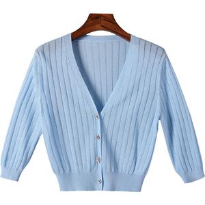 冰丝针织薄款白色长袖短款针织衫