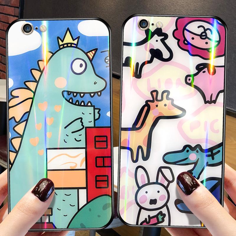 苹果6手机壳iphone6s玻璃镜面壳7plus全包防摔6splus个性创意潮牌女7/8网红6plus情侣款8plus可爱卡通6p六6sp