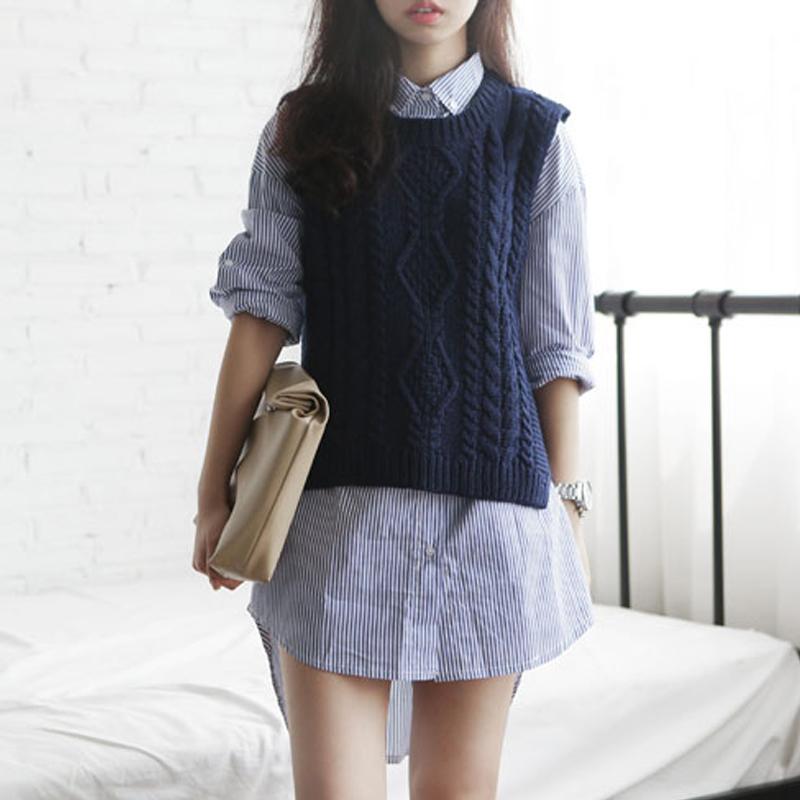 Korean dongdamen Vintage cotton knitted womens waistcoat, versatile pullover, mahogany large size Khaki sweater, hollow out vest