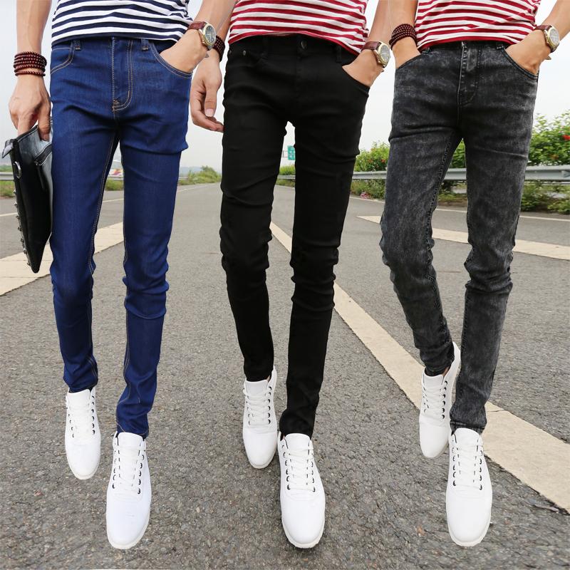 夏季薄款牛仔褲韓版男士修身小腳褲彈力2015藍色緊身潮男裝長褲子