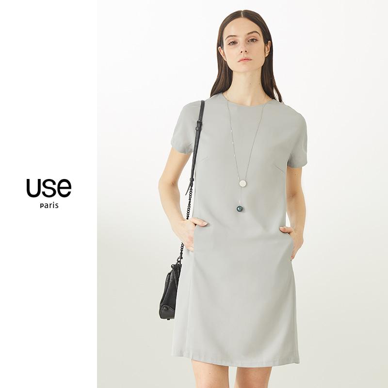 白色短袖雪纺连衣裙USE2021夏欧美简约H型时尚修身显瘦灰色连衣裙