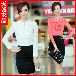 Women wear long sleeved shirt 2013 new Korean fashion autumn clothes suit Ms skirt dress