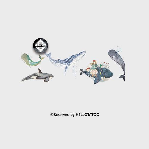 (用1元券)与鲸共舞水彩手绘鲸鱼原创女纹身贴