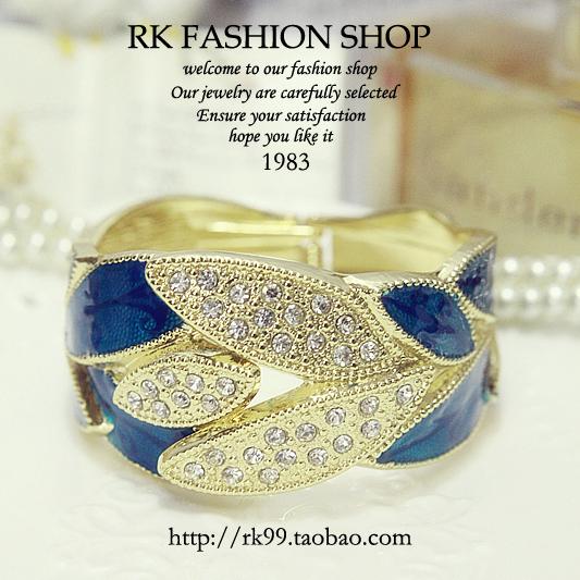 Американский BLK 13 Последний алмаз блестящие окрашенные листья дизайн браслет флэш-синий лист обернуть браслет