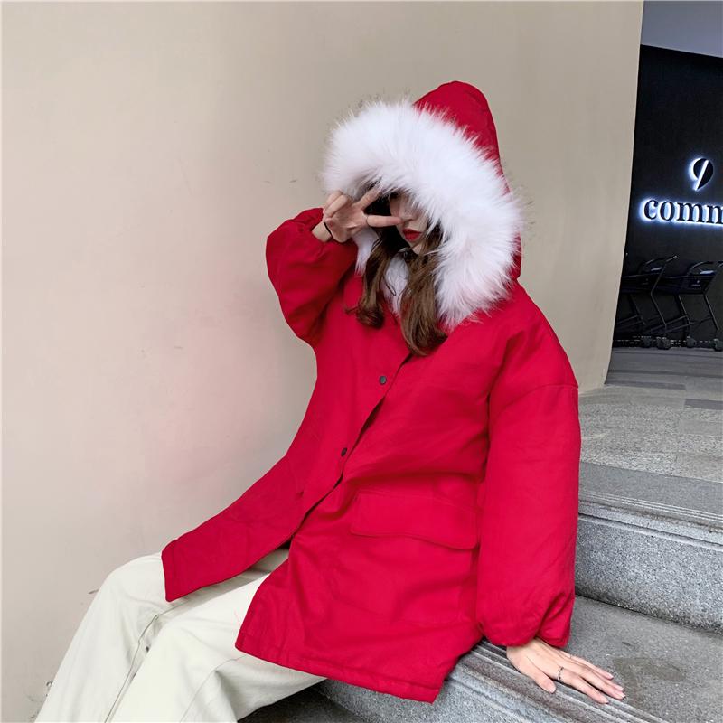 实拍实价宽松保暖大毛领连帽棉衣学生棉服