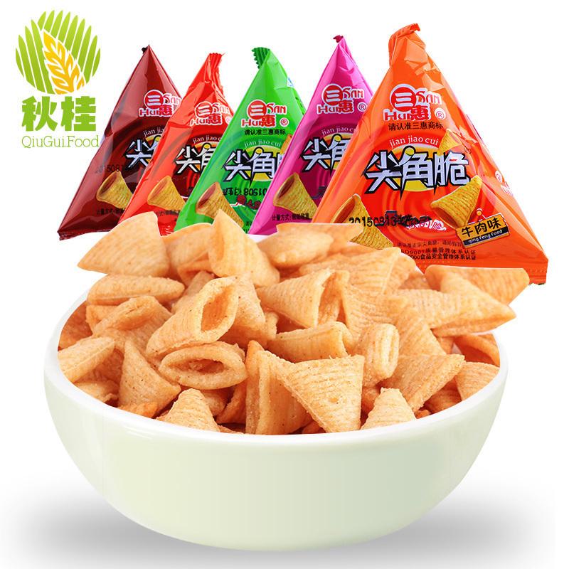 三惠尖角脆妙脆角pk脆锅巴三角塔膨化小吃零食品店大礼包小吃1kg