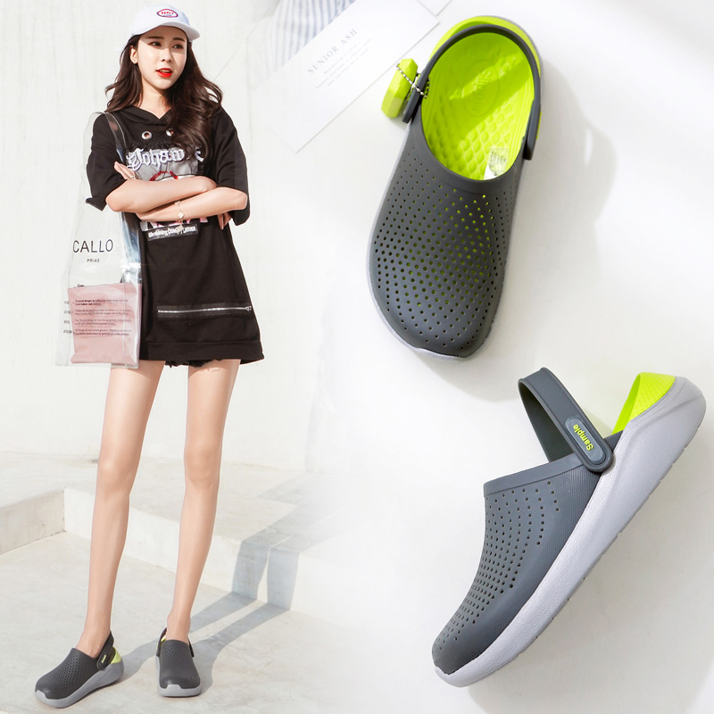 Summer cave shoes womens thick soled antiskid slippers Korean color matching Baotou beach shoes wearing sandals womens shoes fashion