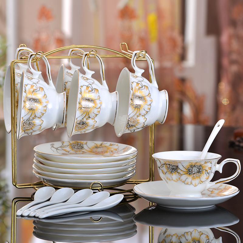友來福骨瓷咖啡杯套裝歐式杯子紅茶杯碟整套簡約水杯 卡布奇諾