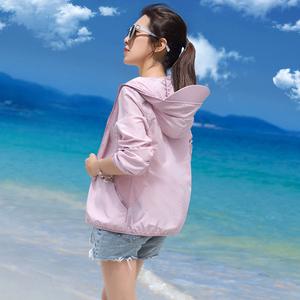 防晒衣女短款2020夏季新款防紫外线带帽薄款外套白色防晒服防晒衫
