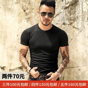 2件包邮 夏装新款男纯色短袖T恤型男修身休闲圆领T恤上衣潮流T567