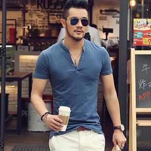 竹节棉修身 T恤V领半袖 保罗衫 上衣夏PL1010 欧美型男polo衫 短袖 夏季