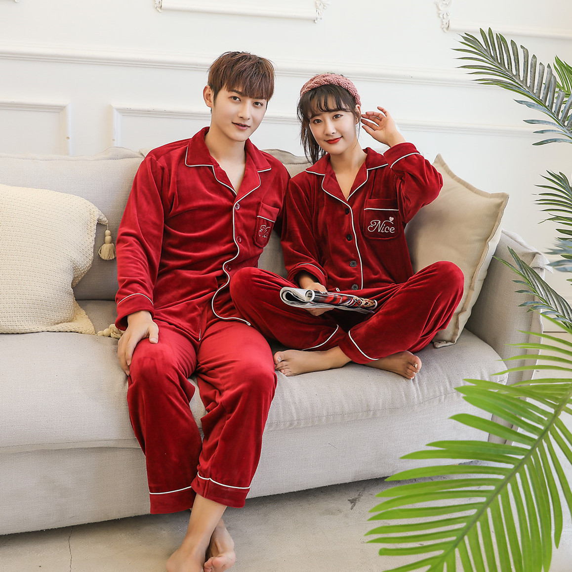 Jingmingya Island cashmere housewear solid color embroidered letter suit autumn and winter long sleeve trousers Plush couple pajamas