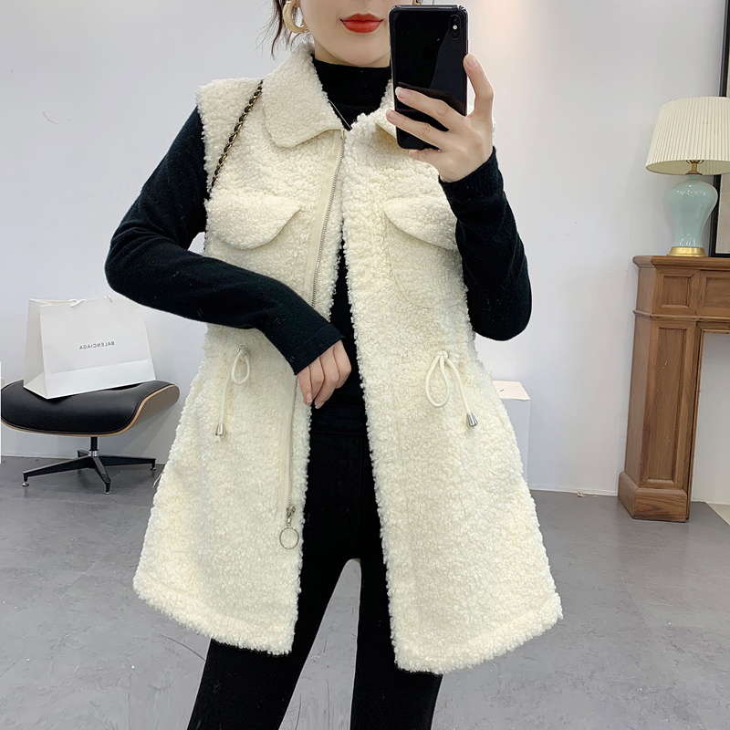 Granular fur one piece cashmere coat womens mid length 2019 winter new waistband drawstring lambhair vest