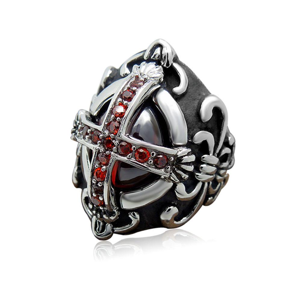摇滚新款朋克哥系列复古Rock哥特式十字架镶嵌红色宝石钛钢戒指环