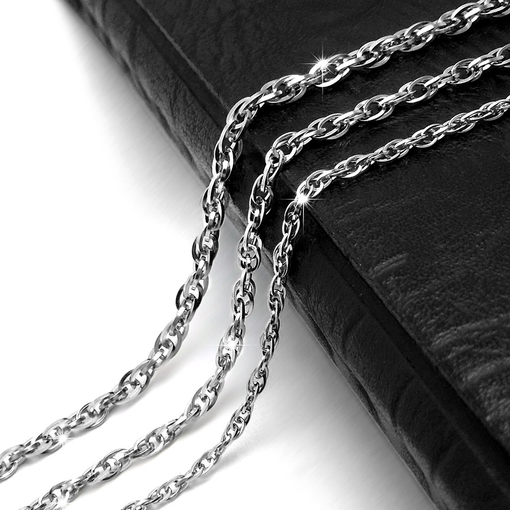 Rock new punk retro Gothic double buckle double titanium steel necklace pendant with bare chain and new accessories