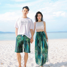 New couple swimsuit lady slim beach vacation hot spring three-piece skirt-style small fresh beach trousers men's swimsuit