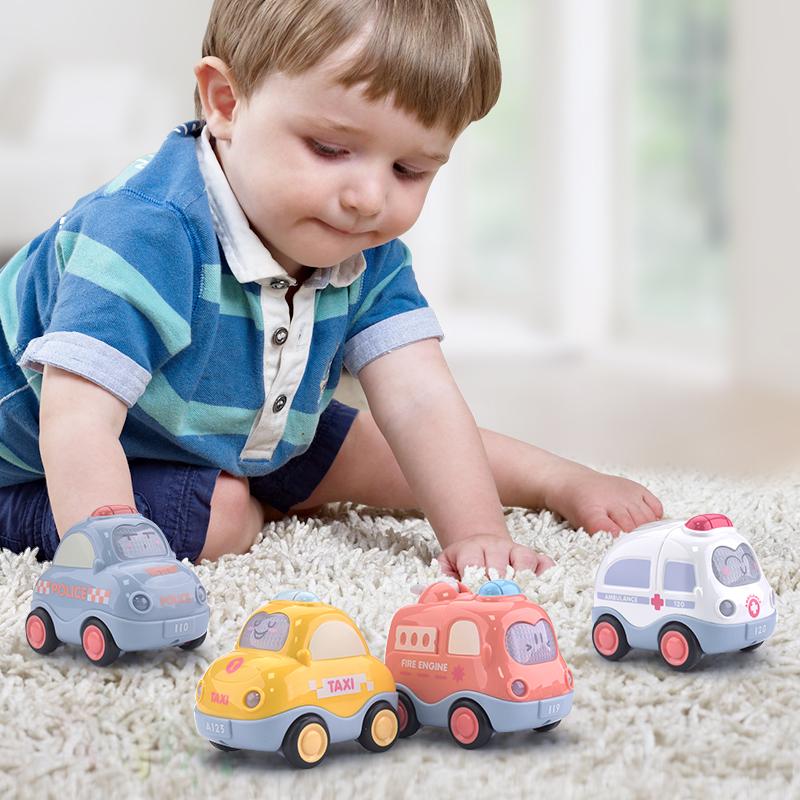 音乐玩具车套装宝宝回力车惯性小汽车儿童工程车消防车玩具男孩