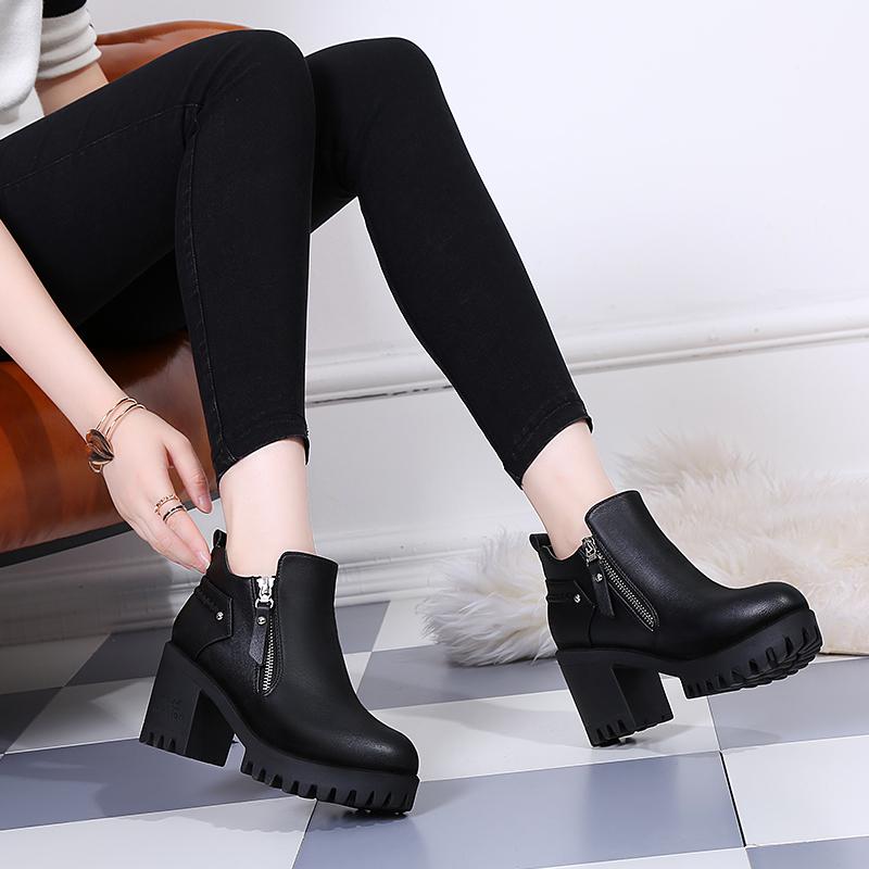 高跟马丁靴2020秋冬新款粗跟百搭防水台裸靴圆头中跟短靴加绒女鞋