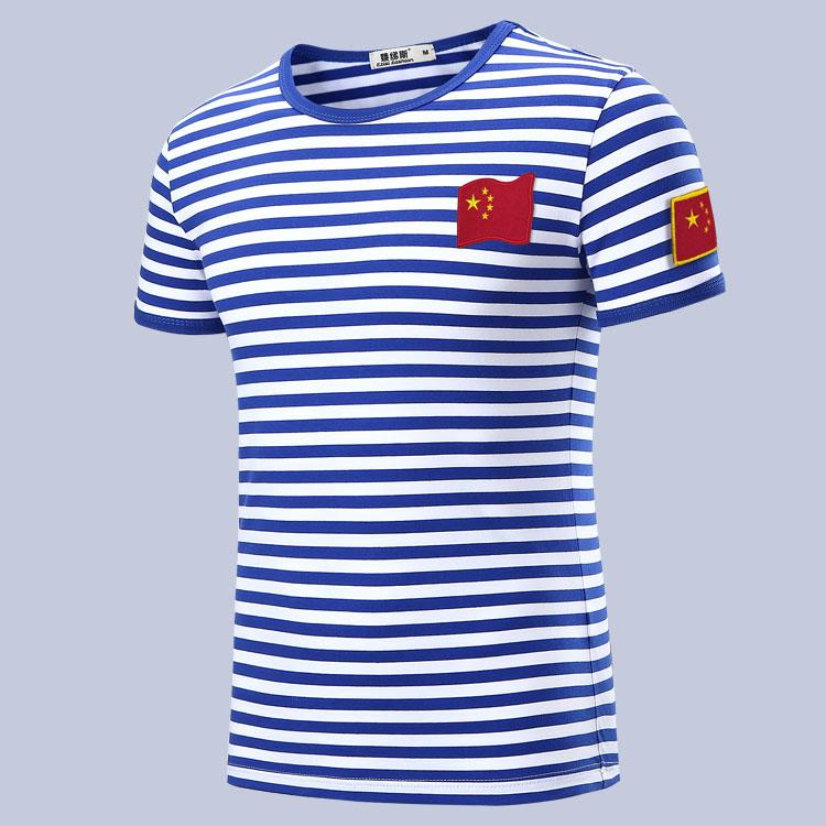 娥绨斯夏季短袖t恤男 蓝白条纹国旗刺绣标胸章臂章海魂衫纯棉体恤