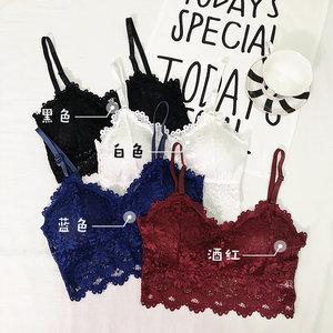 2019春季韩版时尚新款短款吊带蕾丝裹胸带胸垫打底抹胸少女内衣女