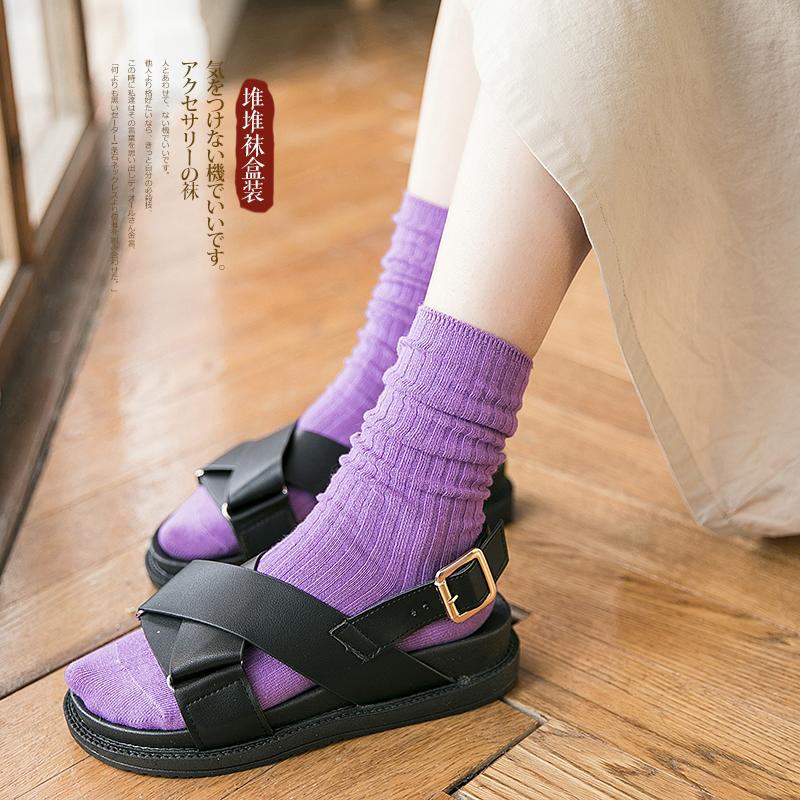 堆堆袜女韩国 春夏秋冬纯棉纯色 潮复古日系中筒长百搭简约薄袜子