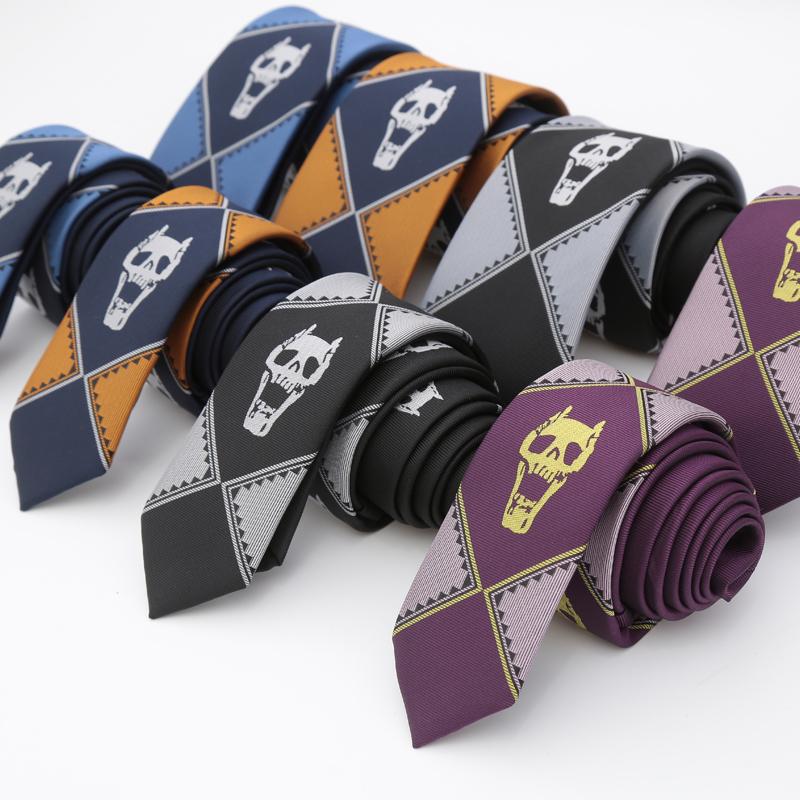 Japanese version of JOJO wonderful adventure jiliangjiying tie surrounding cos skull joint name tie JK anime mens Purple